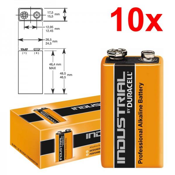 10 Stück 9V-Blockbatterie DURACELL INDUSTRIAL 6LR61