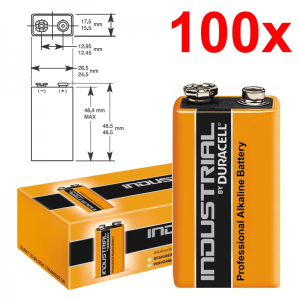 100 Stück 9V-Blockbatterie DURACELL INDUSTRIAL 6LR61