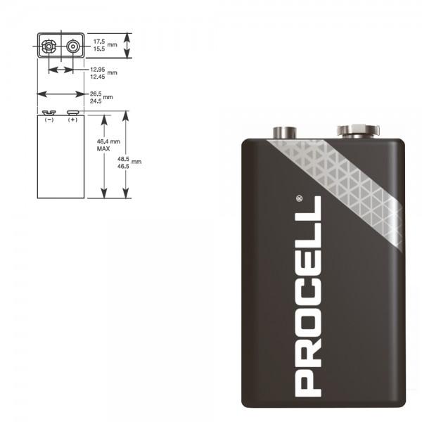 DURACELL Procell 6LF22 9V Block MN 1604 Alkaline Batterie