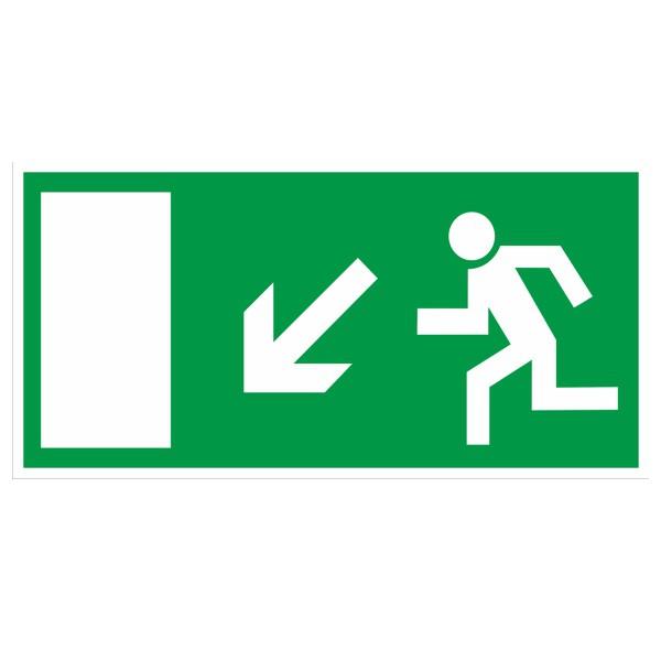 Rettungszeichen Rettungsweg links abwärts gemäß BGV A8 Folie 297x148mm
