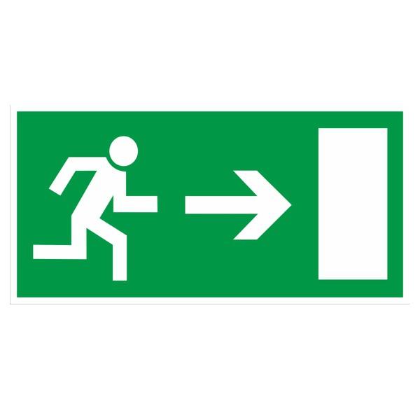 Rettungszeichen Rettungsweg rechts gemäß BGV A8 Folie 297x148mm