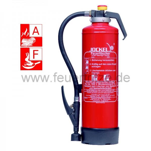 Jockel - Auflade - Feuerlöscher F 6 J 13, mit Wandhalter, Fußring und 6 L wässriger Lösung für die Brandklasse A und F (Fettbrände)