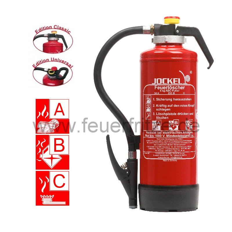 Jockel 6 kg ABC Pulver Auflade-Feuerlöscher P 6 JK 55 Superplus 6710000