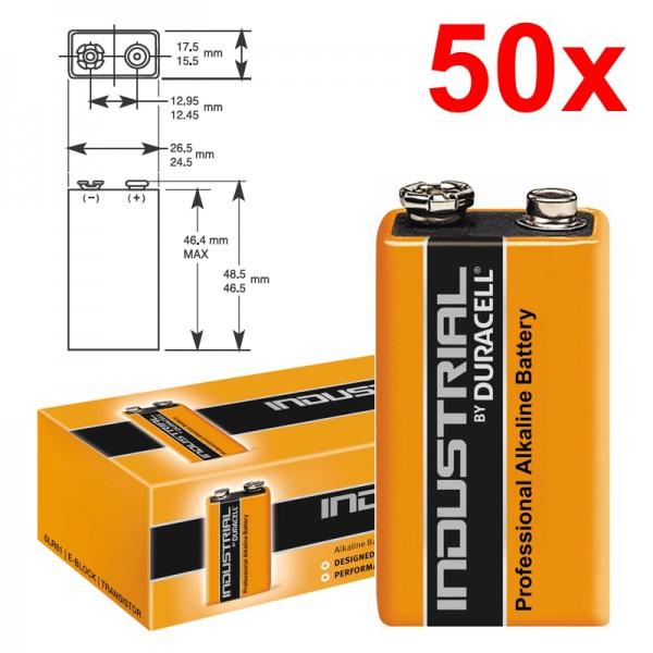 50 Stück 9V-Blockbatterie DURACELL INDUSTRIAL 6LR61