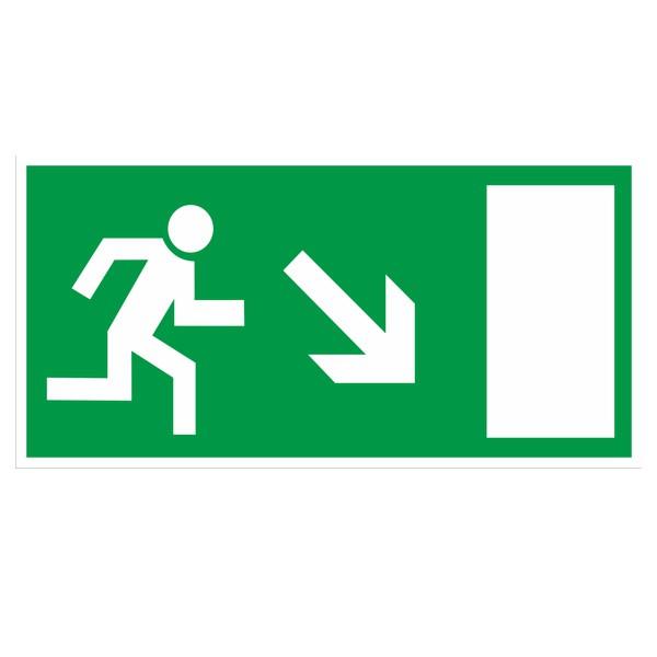 Rettungszeichen Rettungsweg rechts abwärts gemäß BGV A8 Kunststoff 297x148mm