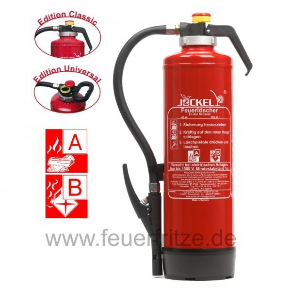 Jockel 9 Liter Auflade-Feuerlöscher mit Schaum-Kartusche SK 9 J BIO 43 Super mit Wandhalter und Fußring