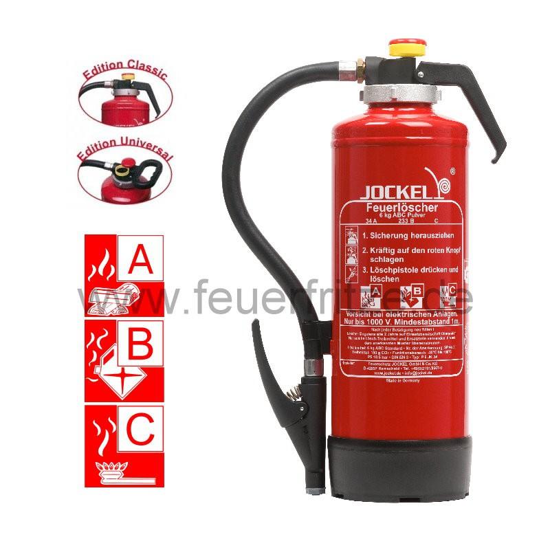 Jockel 6 kg ABC Pulver Auflade-Feuerlöscher P 6 JK 43 Plus 6110000.1