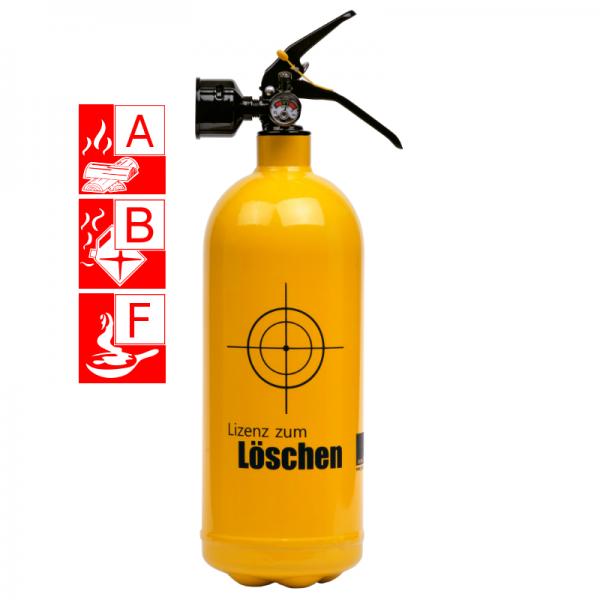 Jockel Designfeuerlöscher Lizenz zum Löschen Brandklasse A B und F
